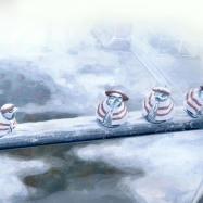 雪の江ノ島駅