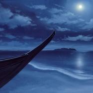 満月の辻堂海岸