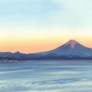 江ノ島と富士山 夕景