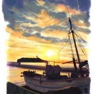 腰越漁港夕景