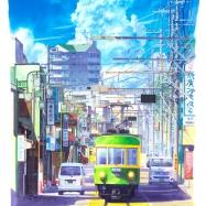 夏の腰越江ノ電