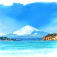 逗子海岸江ノ島富士山