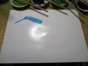 富士山の部分はぬいて塗ります