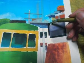 フリーハンドで基本描いています。描きすぎに注意します。