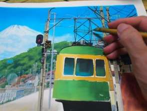 フリーハンドで描きます。電線は難しいので定規を使います。