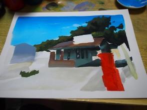 建物や後ろの木を塗ります。