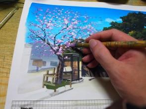 桜は枝が独特なので気をつけて描きます。