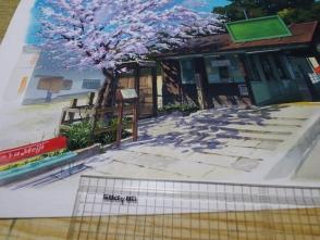 ベンチや桜の影を描きます。影はとても重要です。