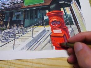 赤色は塗りにくいですが頑張って塗ります。基本フリーハンドで描きます。
