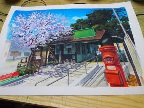 桜は何度描いても難しいです。
