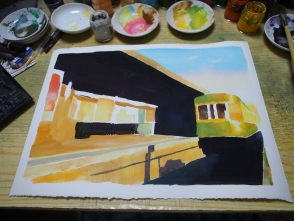 わりと大雑把に全体を塗ります。
