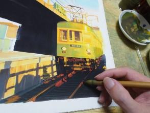 電車の前面や線路を描きます。光を受けて光ってるように描くのが重要です。
