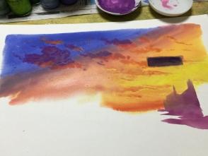 乾かないうちに、空のグラデーションを塗りつつ雲も描きます