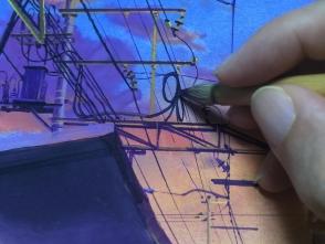 電線は弛んでいたり、グルグルしているので非常に描くのに骨が折れます。