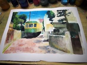 大雑把に全体を塗ります。パースは意識した方がいいと思います。