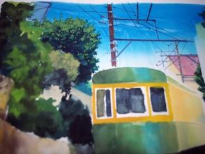 遠景の建物や木を描いてゆきます。