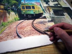曲線なので、フリーハンドですが手描きらしさが出るように描きます。