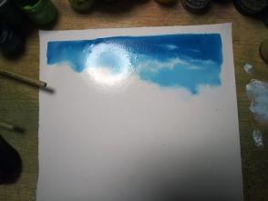 塗れているうちに空を塗ります。ただ、これは濡らしすぎです。