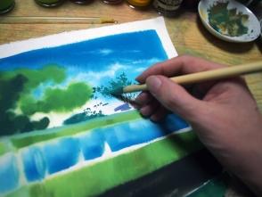 遠景の木なのでちょっと青みを加えています。