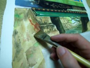 平筆を使って面で塗ります。
