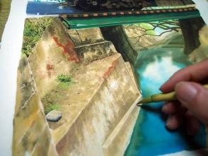 基本大きく塗った後に、細かい筆で整えます。