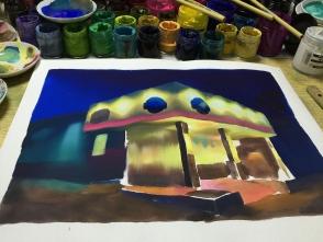 おおざっぱに全体を塗ってしまいます。
