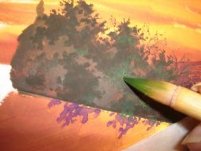 23.近細い筆を裂いて、葉っぱをチョンチョンと描いていきます。見えない枝を意識して葉を描くと良いです。