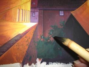 26.手前の影の中の茂みを描きます。影の中は、影色で葉を描きます。