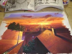 30.エアブラシで夕日の光を描き足しました。 あっ!!よくみると 増刊ヤングジャンプに友人の絵が掲載されている!