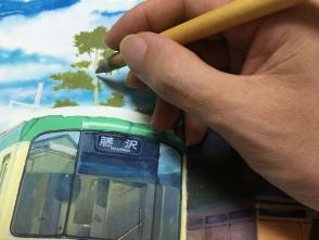 遠景の松を描きます。あっさりめに描く方がいいです。
